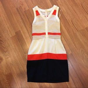 Gianni Bini Cream Orange Navy Tank Mini Dress